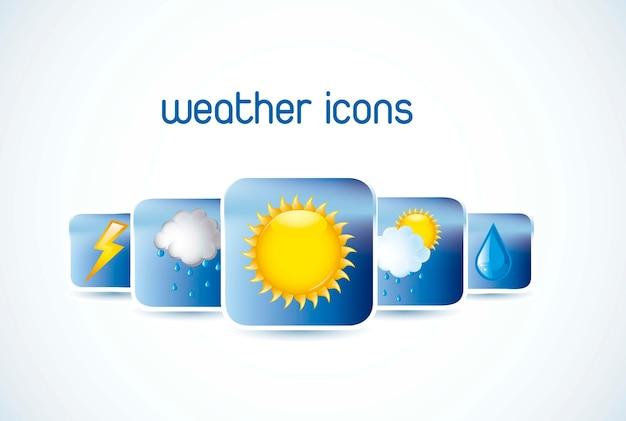 Wettersymbole mit schatten auf weißem hintergrund vektor