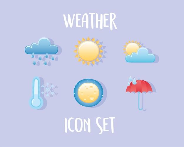 Wettersymbole setzen wolkenregensonne kalten regenschirmnachtmond