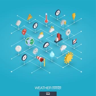 Wettervorhersage integrierte 3d-web-symbole. isometrisches konzept des digitalen netzwerks.