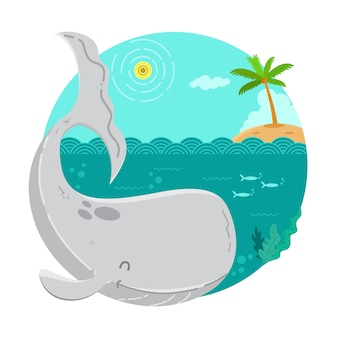 Whale cartoon illustration