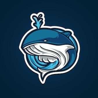 Whale e sport maskottchen logo