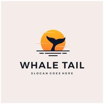 Whale tail sunset logo design symbol illustration