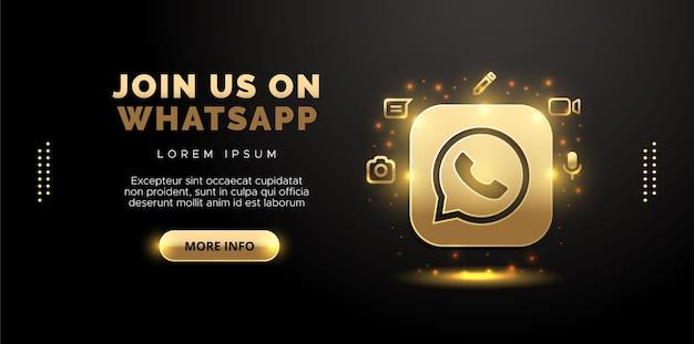 Whatsapp-design in gold auf schwarzem hintergrund