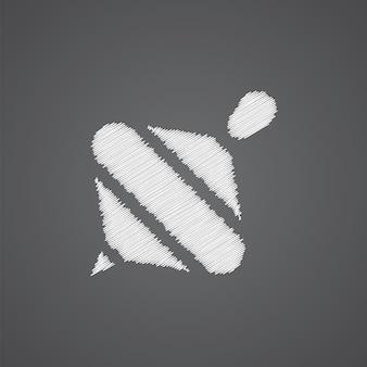 Whirligig-skizze-logo-doodle-symbol auf dunklem hintergrund isoliert