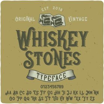 Whiskey stones label schrift