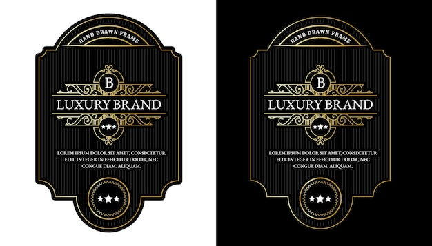 Whisky-etiketten mit logo-typografie für bier whisky-alkohol-getränke-flaschenverpackungen gravur