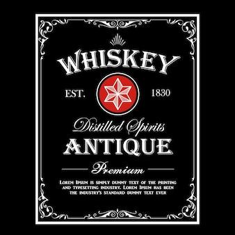 Whisky grenze antiker rahmen vintage gravur western label retro-illustration