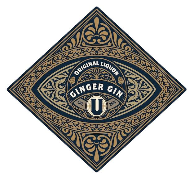 Whisky-logos mit floralen elementen.