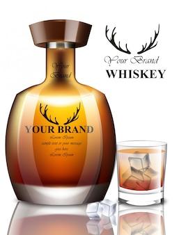 Whisky realistische flasche. produktverpackung markendesign. platz für text