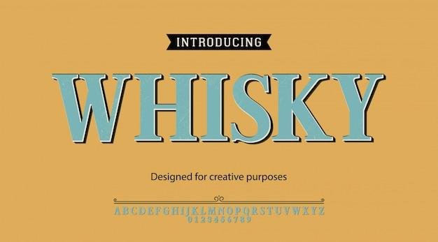 Whisky-schrift. für etiketten und verschiedene schriftarten