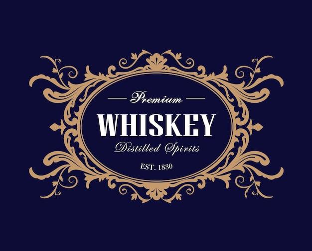 Whisky vintage frame label retro handgezeichnete gravur antike illustration