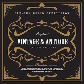 Whisky vintage grenze antikem rahmen gravur label western retro-illustration