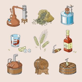 Whiskyalkohol-getränkebrand in glas und getränk scotch oder bourbon in flaschenillustrationssatz der destillation lokalisiert auf hintergrund
