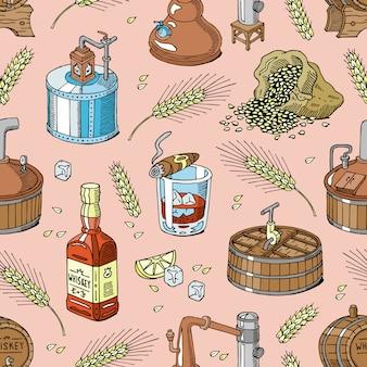 Whiskyalkohol-getränkebrand in glas und getränk scotch oder bourbon in flaschenillustrationssatz des nahtlosen musterhintergrunds der destillation