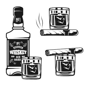 Whiskyflasche mit glas- und zigarrenvektor-schwarzen objekten oder designelementen lokalisiert auf weißem hintergrund