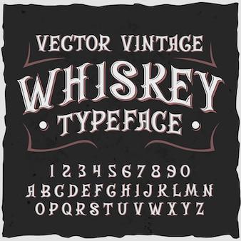 Whiskyhintergrund mit verzierten ziffern und buchstaben des weinleseschildetiketttextes mit rahmenillustration