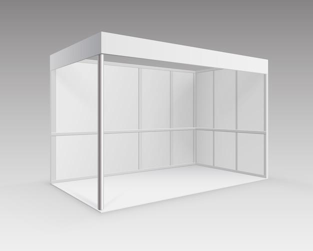 White blank indoor fachausstellung stand standard stand für präsentation in perspektive isoliert auf hintergrund