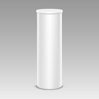 White chips tin box container tube für verpackungsdesign nahaufnahme isoliert auf hintergrund