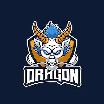 White dragon creative esports maskottchen logo-design