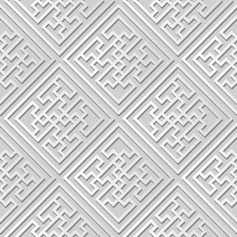 White paper art spiral vortex cross geometry frame, stilvoller dekorationsmusterhintergrund für web-banner-grußkarte