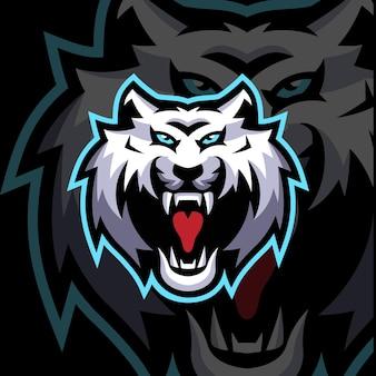 White tiger maskottchen logo vorlagen