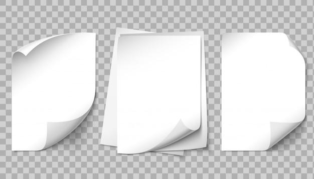 Whitepaper seite. schreiben von seiten, gekräuselte ecke des blattes und illustrationssatz des blattes der papierblattvorlage