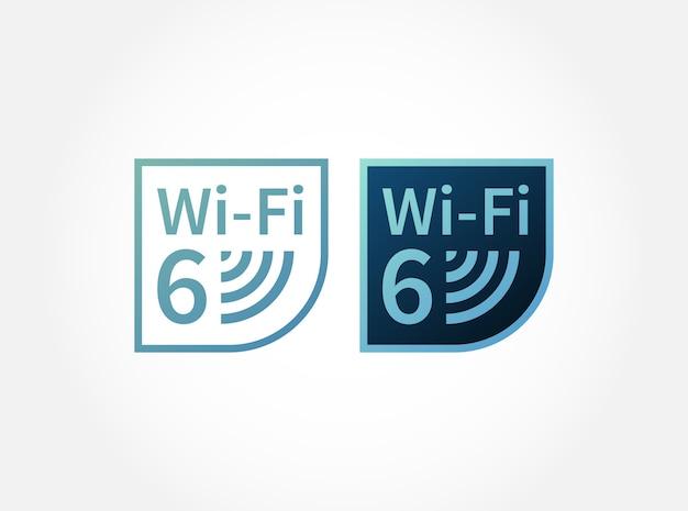 Wi-fi 6-netzwerk der neuen generation für aufkleber Premium Vektoren