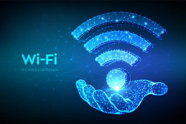 Wi-fi-netzwerk-symbol. niedriges abstraktes wi-fi-polyzeichen in der hand.