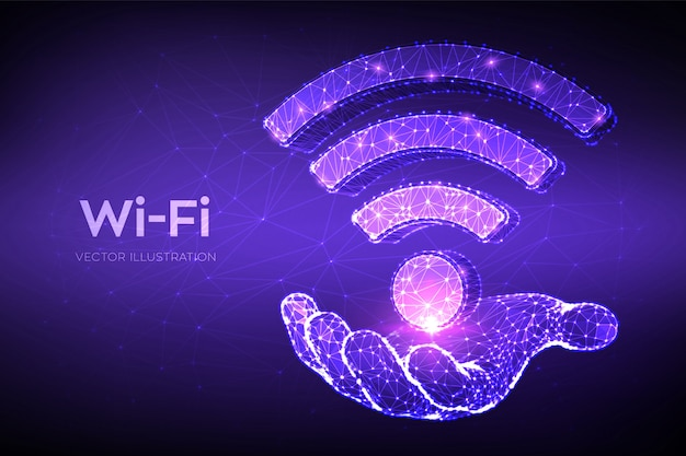 Wi-fi-netzwerksymbol. niedriges polygonales abstraktes wi-fi-zeichen in der hand. mobile verbindungszone. router oder mobile übertragung.