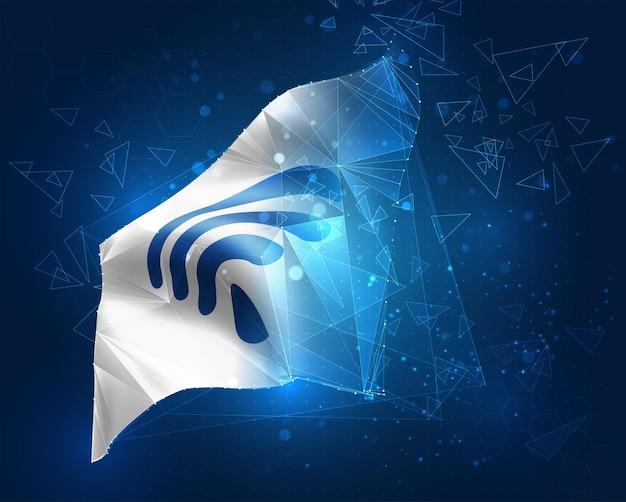 Wi-fi-wellenflagge, virtuelles abstraktes 3d-objekt aus dreieckigen polygonen auf blauem hintergrund