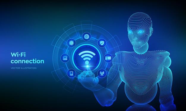 Wi-fi-wlan-verbindungskonzept. kostenloses wifi-netzwerksignal-technologie-internetkonzept. mobile verbindungszone. drahtgebundene cyborg-hand, die die digitale schnittstelle berührt.