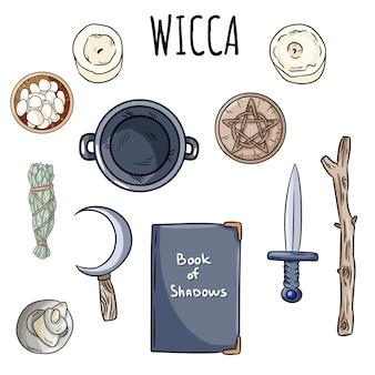 Wicca kritzeleien festgelegt. sammlung von magischen gegenständen der hexerei auf dem altar für okkulte rituale.