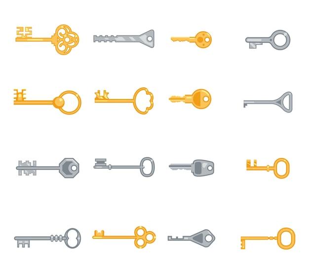 Wichtige flache symbole festgelegt. sicherheit und zugang, metall antik persönlich. vektorillustration