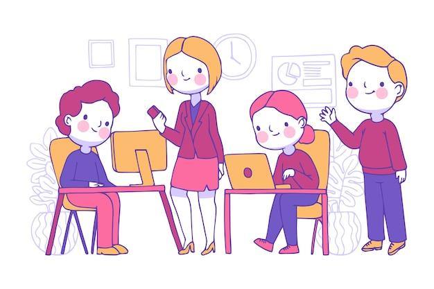 Wichtige geschäftsleute, die laptops verwenden