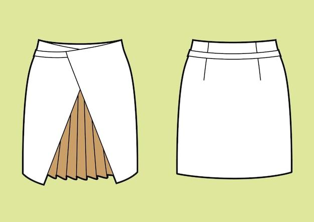 Wickel-bleistiftrock mit plissiertem einsatz. modeillustration