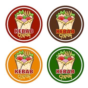 Wickeln sie kebab-käse und zutaten für kebab Premium Vektoren