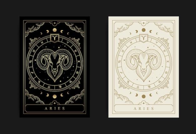 Widder-horoskop und sternzeichen-konstellationssymbol