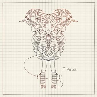 Widder sternzeichen horoskop zeichen und heft papier hintergrund. nettes singendes mädchen. handzeichnung illustration