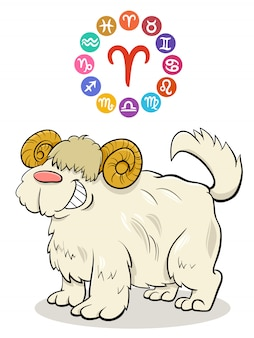 Widder-tierkreiszeichen mit karikaturhund