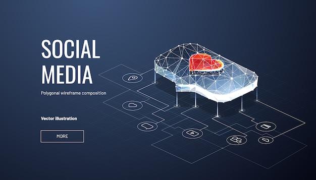 Wie auf der social-media-banner-vorlage leuchten Premium Vektoren