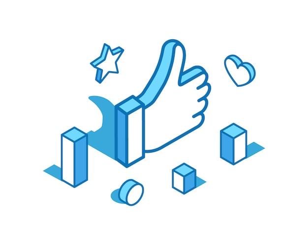 Wie daumen hoch blaue linie isometrische illustration genehmigen sie die beste 3d-banner-vorlage der geste