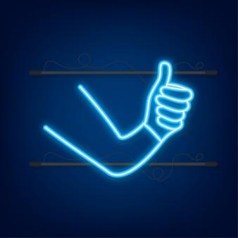 Wie, empfehlen, feedback. neon-symbol. beitrag in sozialen netzwerken. soziale medien mögen. vektor-illustration