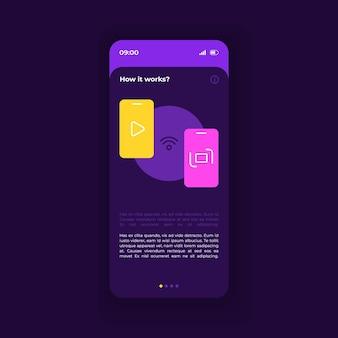 Wie es funktioniert smartphone-schnittstellenvektorvorlage. mobile app-seite dunkelviolettes design-layout. bildschirm der manuellen seite. flache benutzeroberfläche für die anwendung. hinweise zu einstellungen, erläuterungshinweise. telefondisplay
