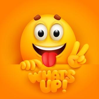 Wie geht's. nette emoji-zeichentrickfigur