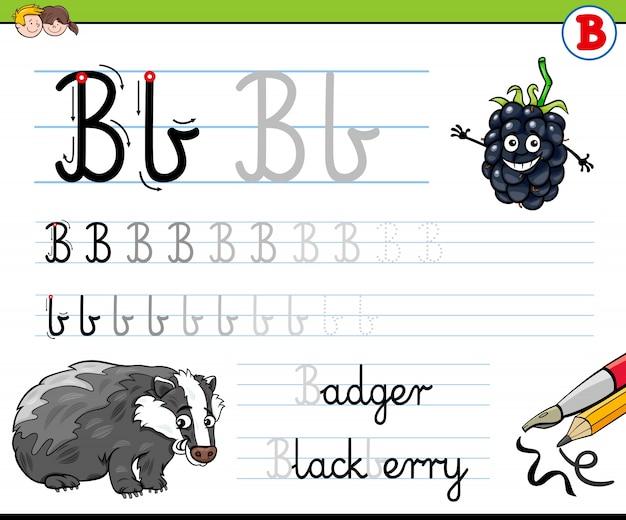 Wie man arbeitsblatt des buchstaben b für kinder schreibt
