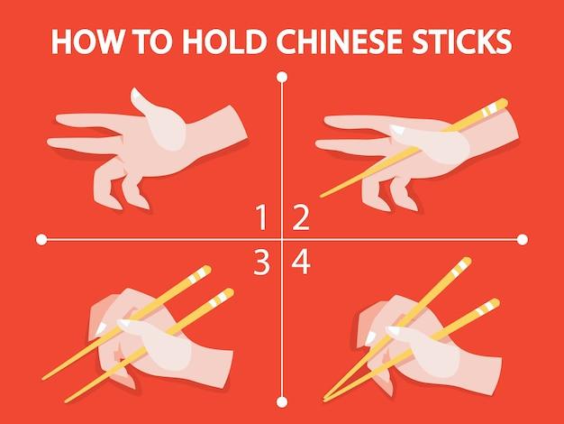 Wie man chinesische oder japanische stäbchen benutzt