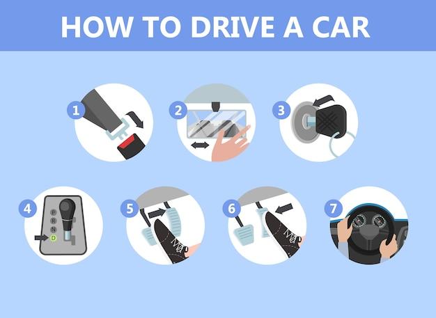 Wie man eine autoanweisung für anfänger fährt