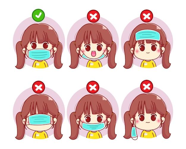 Wie man eine chirurgische maske trägt, richtig und falsch. coronavirus prävention