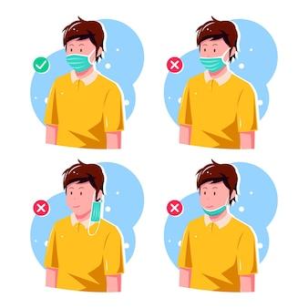 Wie man eine gesichtsmaske richtig und falsch trägt