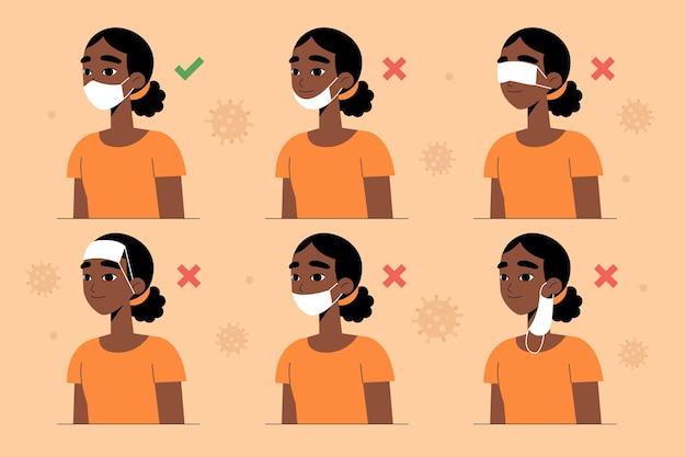 Wie man eine gesichtsmaske trägt (richtig und falsch)